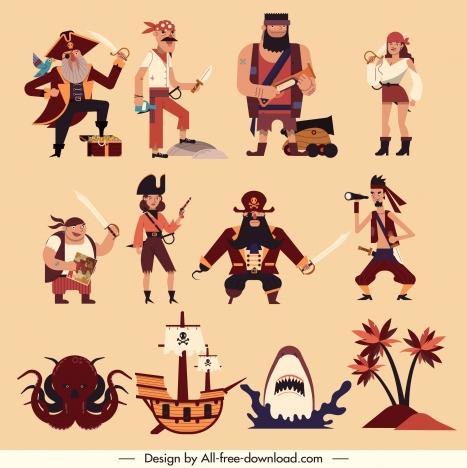 Pirate design elements classical emblems sketch vectors stock in