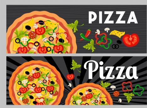 pizza advertisement sets flat colorful design ingredient icons