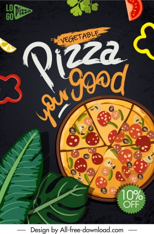 pizza advertising banner colorful dark flat sketch