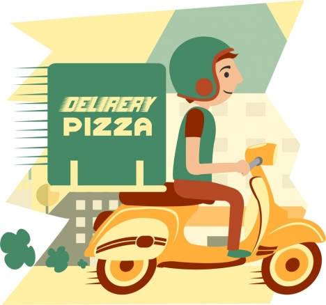 pizza advertising man ridding scooter icon colored cartoon