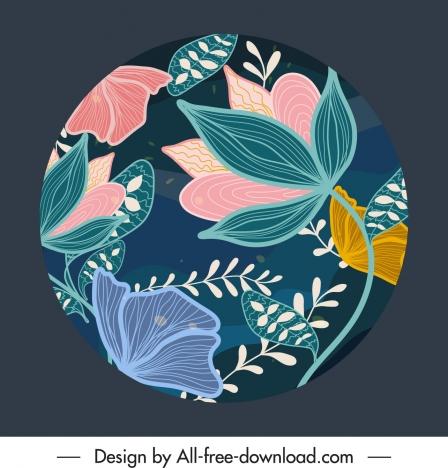 plants background template retro handdrawn circle isolation