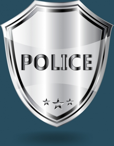 Police Badge Template Shiny Grey Shield Shape Vectors Stock In