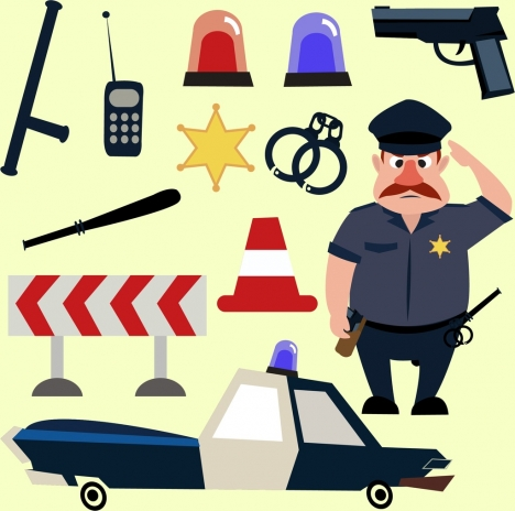 police design elements various colored icons