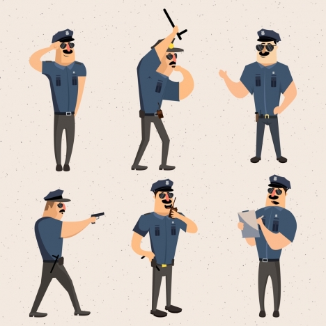 police icons collection various gestures isolation colored cartoon