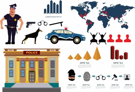 Police job design elements various symbols isolation vectors stock