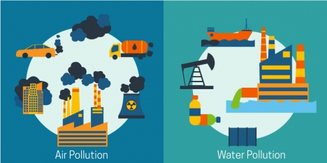 pollution banner vector illustration with cartoon style