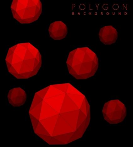polygonal spheres background 3d red dark design