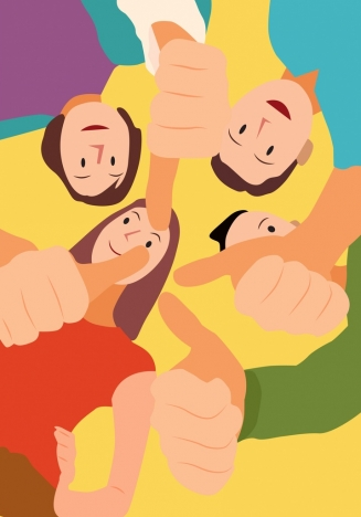 positive background young people thumbup hands cartoon characters