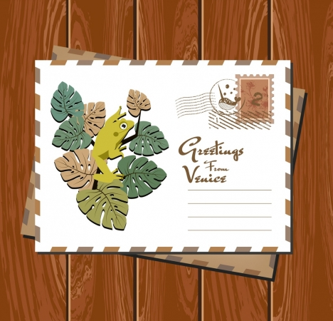 postcard envelope template frog icon classical design
