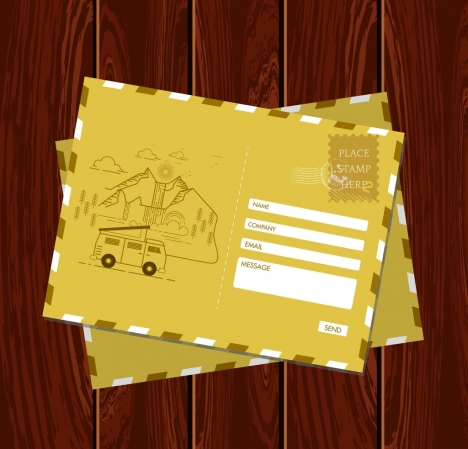 postcard template classical yellow design car mountain icons