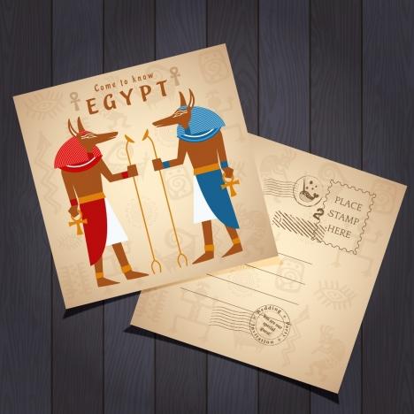 Postcard Template Retro Egypt Design Elements Decor Vectors Stock In