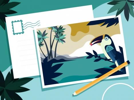 postcard template tropical theme sea parrot icons decor