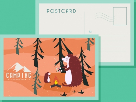 postcard template wildlife camping theme stylized cartoon characters