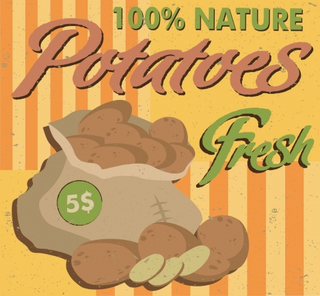 potato advertisement colored retro design bag icon