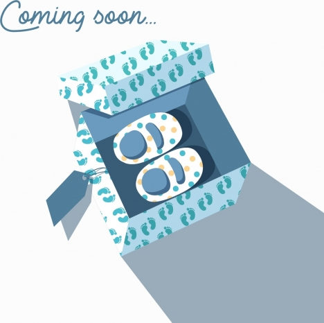 pregnancy banner baby shoes gift box icons