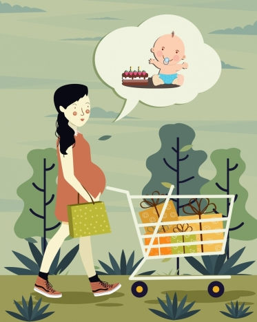 pregnancy drawing shopping woman baby speech bubble icons