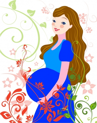 pregnant mother background colorful cartoon design