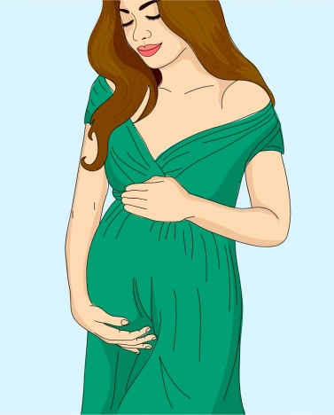 pregnant woman drawing colored cartoon design