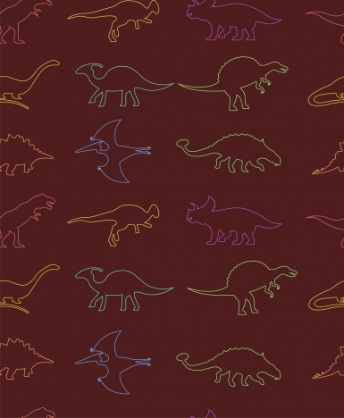 prehistory animals icons outline colorful silhouettes style