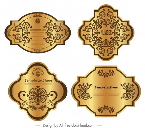 Premium label templates luxury shiny golden symmetric decor vectors