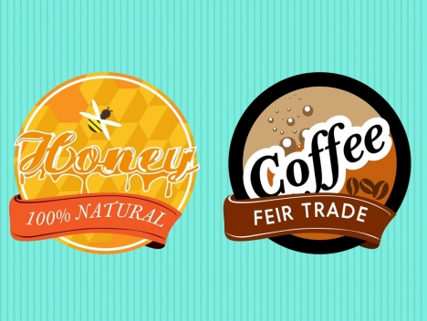 product promotion labels sets honey and coffee styles