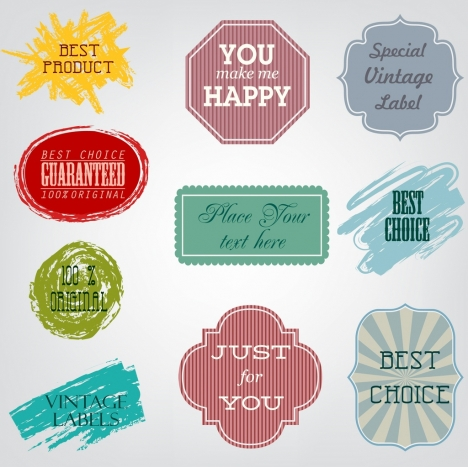 products labels collection grunge retro shaped decor