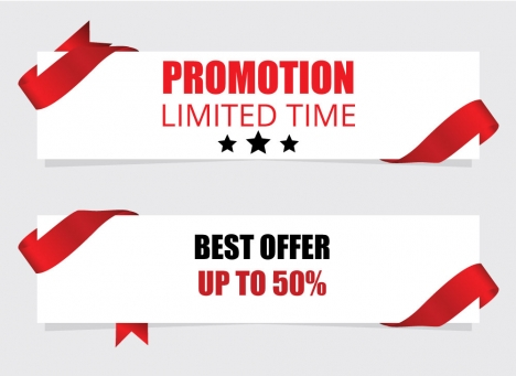 promotion banner with red ribbon