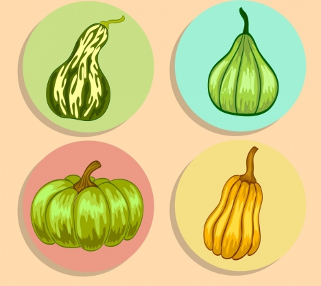 pumpkin icons collection green yellow handdrawn sketch