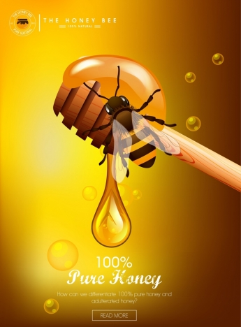 pure honey advertising bee stick droplet icons decor