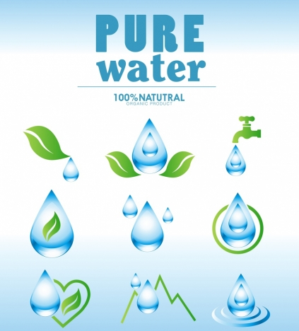 pure water design elements blue droplets leaf icons