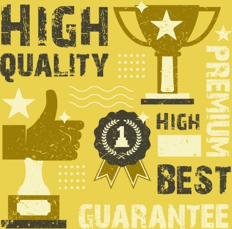 quality guarantee banner trophy thumb texts retro design