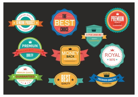 quality promotion badges design with various retro styles