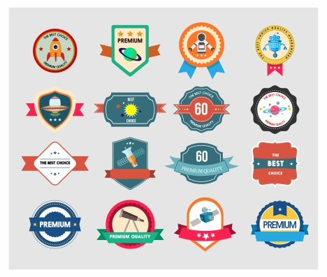 quality promotion label illustration with space badge styles