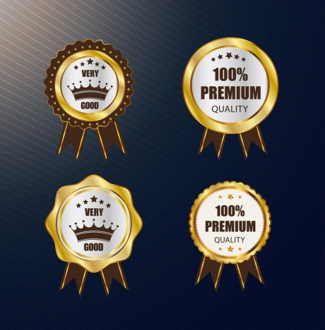 quality warranty badges sets shiny golden circles isolation