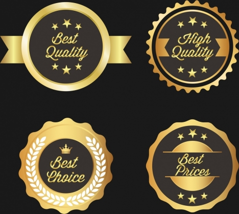 quality warranty badges shiny golden circles design