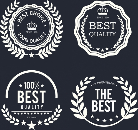 quality warranty labels collection retro flat circle design