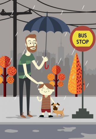 rainy weather drawing father son bus station umbrella icons