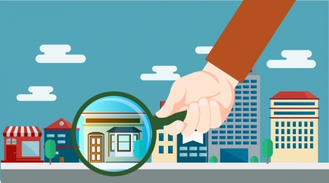 real estate sales background hand houses magnifier icons
