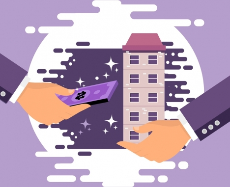 real estate transaction background hands money building icons