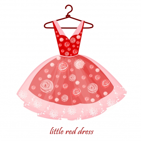 realistic drawing of little red dress