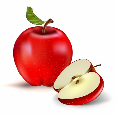 Red apple and half