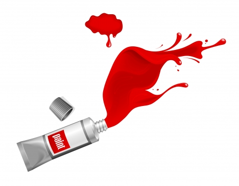 red ink paint splash