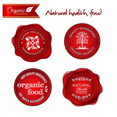 red organic nature health food badge