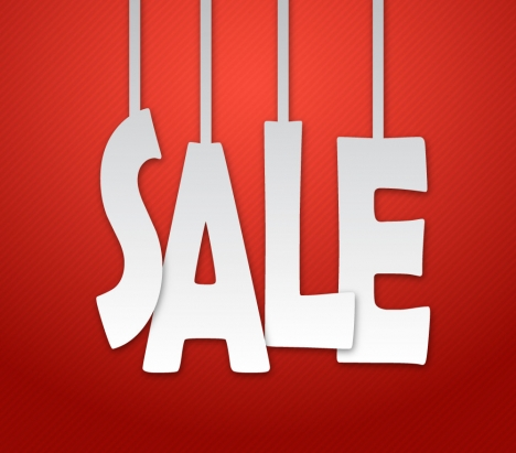 red sale banner with white hanging letters