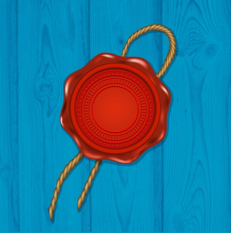 red seal icon shiny circle design rope decoration
