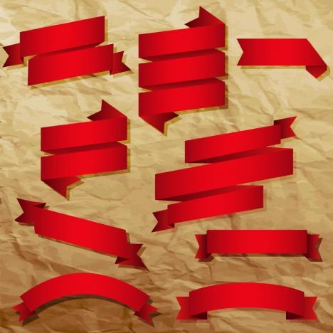 red vintage ribbon banner set