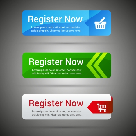 register buttons design with colored horizontal tabs