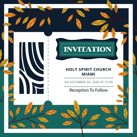 Religion invitation template natural leaves decoration vectors stock religion invitation template natural leaves decoration vectors stock stopboris Image collections