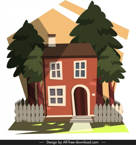 residential house painting colorful cartoon sketch