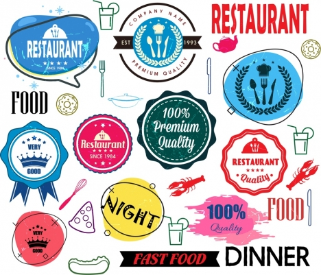 restaurant design elements classical grunge decor logotypes icons